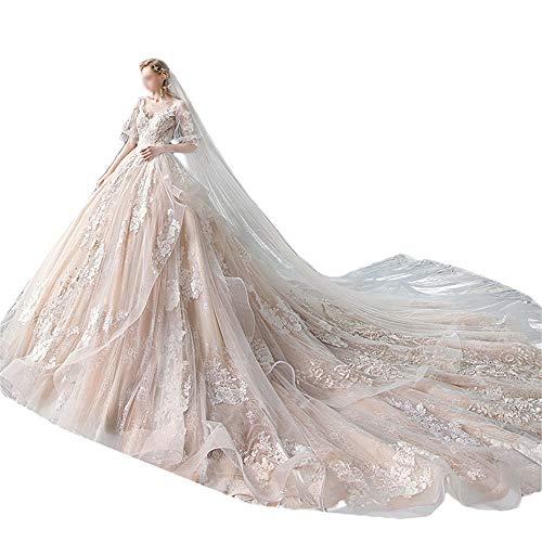 Nobrannd Prinzessin Elegantes Kleid Brautkleid V-Ausschnitt Langarm-Super-feenhafte Fantasie Big Tailing Lady Brautkleid Party Abendkleid (Color : Photo Color, Size : L)
