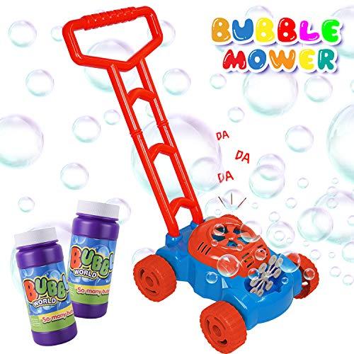 AOLUXLM Juguetes al Aire Libre para Niños, Máquina de Burbujas para Niños, Mecanismo de Soplado Automático, Juguete Bubble Lawn Mower con 8oz líquido