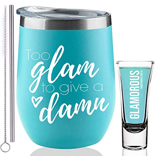 Birthday Gifts for Women | Too Glam To Give A Damn - BFF, Best Friends, Coworkers, Her, Wife, Mom, Daughter, Sister, Aunt, Retirement - 12 oz Stemless Insulated Wine Tumbler with Lid gift (Blue)