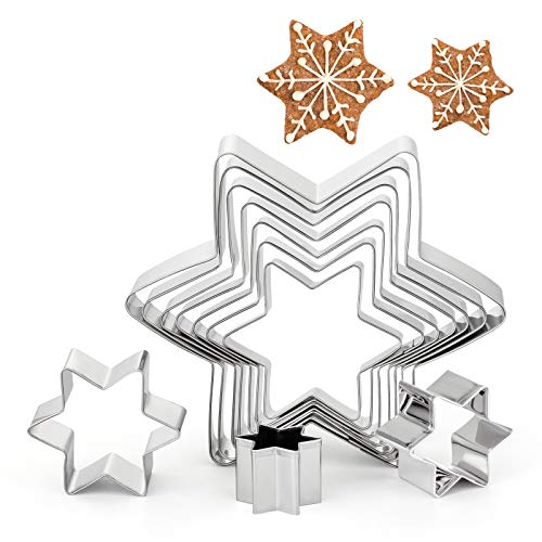 GWHOLE 10 Pz Stella Esagonale Formine per Biscotti Natale Taglierine del Biscotto in Acciaio Inossidabile per Decorazioni in Fondente, Decorazioni di Dolci di Pasticceria