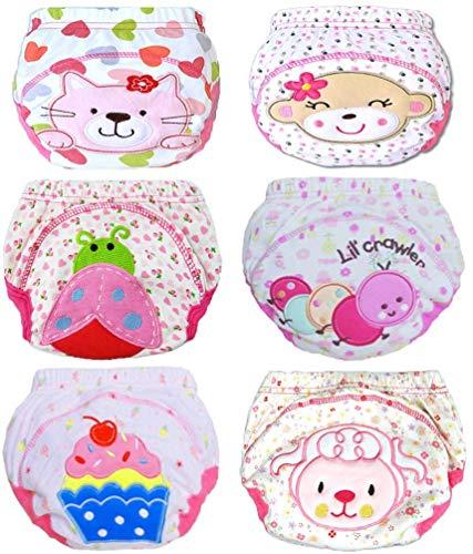 JT-Amigo 6er Pack Baby Mädchen Lernwindel Trainerhosen Unterwäsche zum Sauberwerden Gr. 86/92 (Herstellergröße 90)