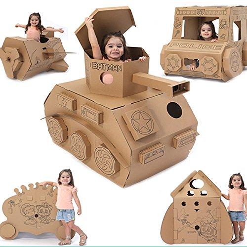 儿童玩具 纸盒玩具 坦克模型 纸壳纸板纸箱DIY手工制作可坐上涂色飞机屋房子 (坦克)