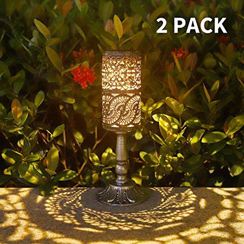 Ulmisfee 2 Stück, Solarleuchten Retro Kerzenständer Solar Tischlampe für den Innenbereich im Freien antike Tischlampe, solarbetriebene Leuchten Garten Hof Kunst Dekor