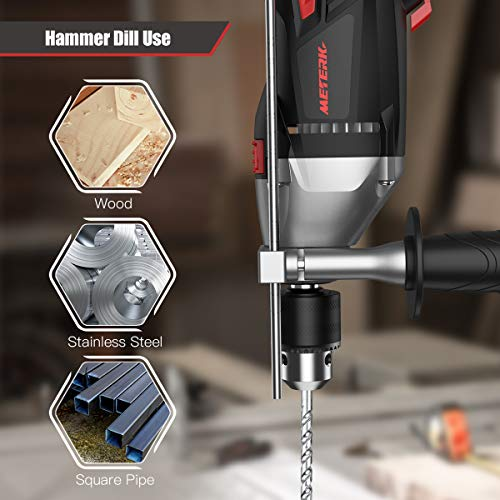 Hammer Drill, Meterk Corded Drill 950W 2800RPM, Impact Drill and Electric Drill with 12 Drill Bit Sets, Storage Case, Rotating Handle, Hammer and Drill 2 Mode in 1 for Wood, Concrete, DIY Projects
