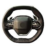 Cubierta de Volante Cosido a mano negro de la PU de cuero de imitación dirección de coches Cubierta de rueda de Peugeot 3008 4008 5008 2016-2019 508 208 2019 2020 208 2020 correo mejor agarre