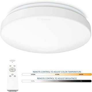 Anten plafón LED regulable con mando a distancia   Lámpara de techo redonda 24W cambio de temperatura de color 3000K-6500K   Iluminación para sala, dormitorio, comedor, cocina, pasillo, etc.