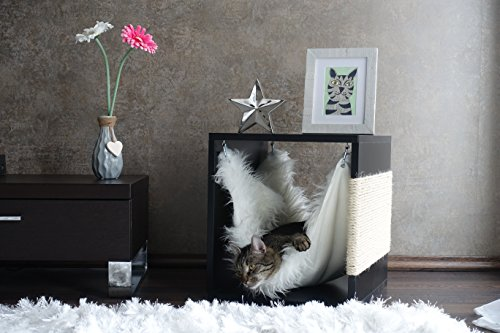 Kratz die Katz Design - Kratzbaum/Kratzwürfel/Katzenmöbel/Beistelltisch/in Schwarz (Matt)