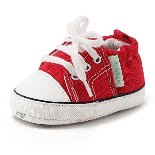 DELEBAO Krabbelschuhe Lauflernschuhe Erste Wanderer Schuhe Baby Segeltuchschuhe Weiche Sohle Babyschuhe Säuglingskleinkind für Baby Mädchen Baby Jungen (Rot,12-18 Monate)