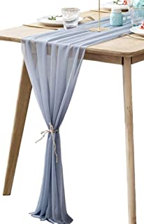 BOXAN Grey Sheer Table Runne/Overlay Decorative Wrinkle Resistant for Romantic Wedding Party, Bridal & Baby Shower Table Decoration 30x120 Inch Gray