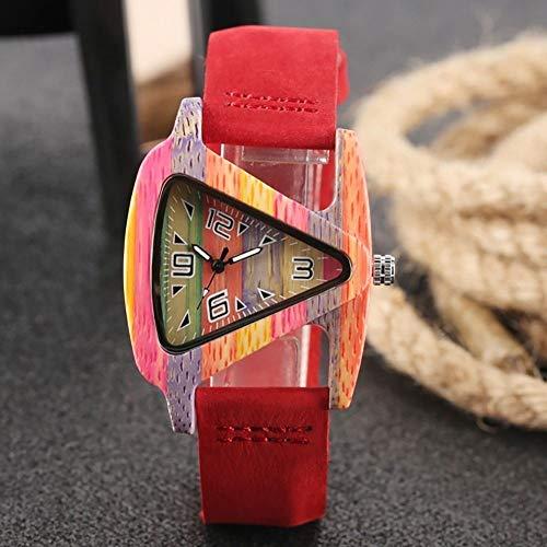 FMXKSW Holzuhr, neuartiges Design Dreieck Form Quarz Bambus Armbanduhr mit Leder Uhrenarmband Casual Clock Geschenke für Frauen reloj, rot