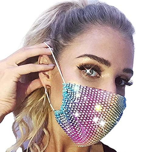 Eaureum Rhinestone Mesh Face Mask for Women Washable Reusable Chain Masquerade Màsc for Women (rainbow)