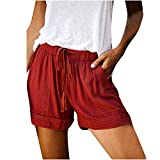 Shorts for Women Comfy Drawstring Casual Elastic Waist Pure Color Loose Summer Beach Short Pants with Pockets Plus Size
