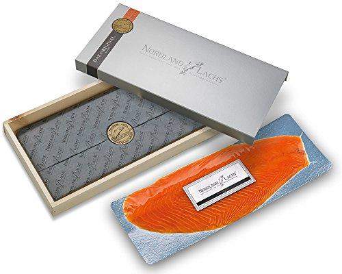 Lachs Geschenkkorb Feinkost Präsent Geschenk mit Ultrapremium Räucherlachs aus Schottland geschnitten und 2 Lachs-Saucen - TOP Kühlversand (700-800g Ultrapremium Räucherlachs)