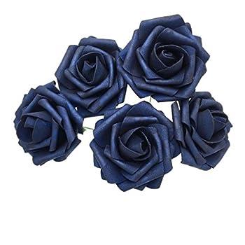 50 pcs Artificial Flowers Foam Roses for Bridal Bouquet Bouquets Wedding Centerpieces Kissing Balls  Navy Blue