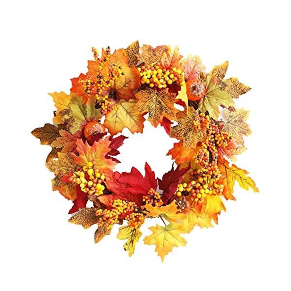 18″ Artificial Autumn Maple Leaf Pumpkin Front Door Wreath,Fall Hanging Harvest Wreath Garland Wall Window Decorations for Thanksgiving,Christmas,Halloween