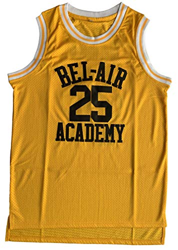 supereasydeals The Bel Air 25 Carlton Banks Basketball Jersey,90s Hip Hop Clothes for Party Men (25 Yellow, Medium)
