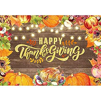 Allenjoy 7x5ft Happy Thanksgiving Backdrop Fall Pumpkin Turkey Maple Leaves Photography Background Autumn Harvest Party Supplies Event Decoration Banner Photo Booth Props
