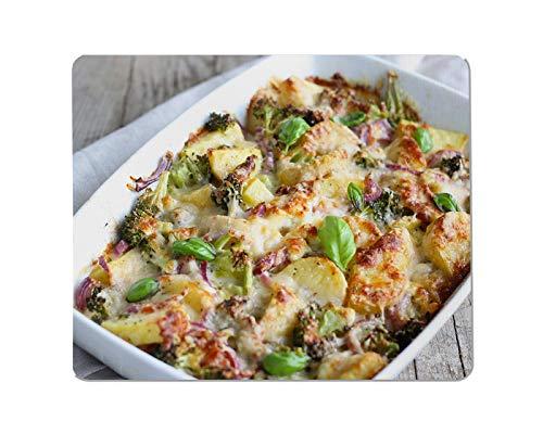 Yeuss Food Rechthoekige anti-slip Mousepad Een gebakken braadpan met groenten, vlees en kaas. gebakken, braadpan, bakken, basilicum, broccoli Gaming muismat 200mm x 240mm
