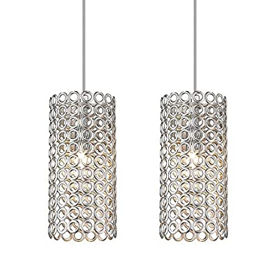 K&R Industrial Pendant Lights Fixture, 2 Pack Metal Pendant Lighting, Hanging Ceiling Light Fixture with Brushed Nickel Finish for Kitchen Island Farmhouse
