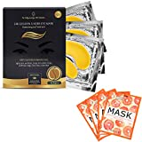 24K Gold Under Eye Collagen Patch, Anti-Aging Mask, Good for Dark Circles and Wrinkles, Including 4 pcs of Grapefruit Glow Facial Masks
