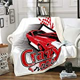 Teens Race Car Blanket Throw Speed Sports Car Plush Dorm Blanket for Kids Boys Adult Men Extreme Sport Games...
