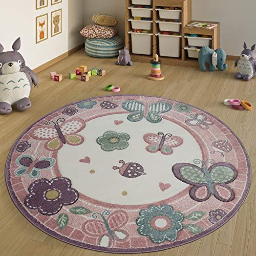 Paco Home Kinderteppich Rund XXL 180 cm Ø 160 cm Ø 120 cm Ø Blumen Schmetterling Rosa, Grösse:Ø 120 cm Rund