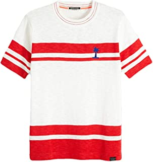 SCOTCH&SODA (スコッチ&ソーダ) 半袖ニット [メンズ] 292-74479 Placement Stripe T-Shirt【WHT(00) /S・M・Lサイズ】