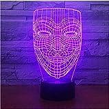 für Vendetta Maske 3D Illusion Nachtlicht Ungehorsam Anonymer Kerl Fawkes Party Dekorative Beleuchtung Glühende Led Lampe Drop Ship