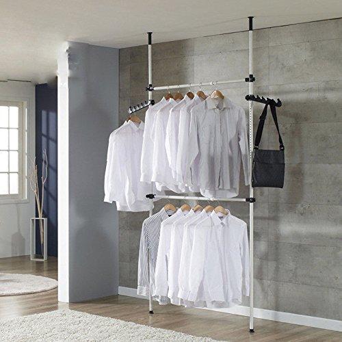 Zoternen kledingrek, telescoop, kledingkast, kledingrek, met stangen, breedte en hoogte verstelbaar, gemakkelijk te monteren, kledingrek voor garderobe, 2 stangen