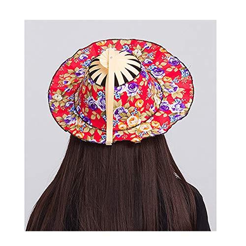 YANG Sombrero for el Sol Sombrero de Playa Plegable Sombrero de Viaje Gorro del Ventilador Doble Uso Sombrero de Ventilador de bambú Protector Solar Protector Solar (Color : A)