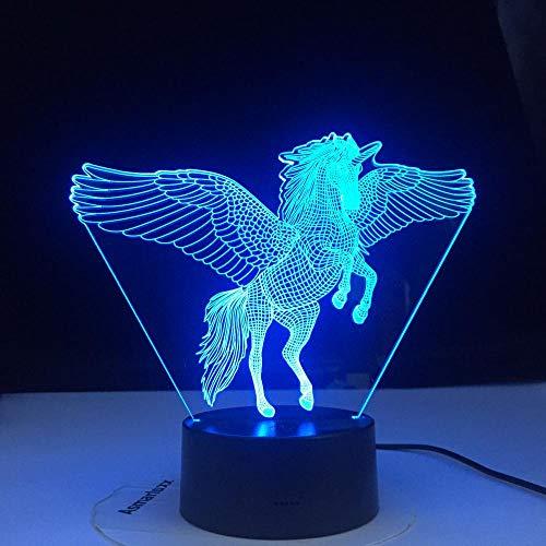 Lámpara De Ilusión 3D Luz De Noche Led Modelo De Vuelo De Unicornio Tocar Decoración De Dormitorio Para Niños Luces De Caballo Del Arco Iris Con Control Remoto