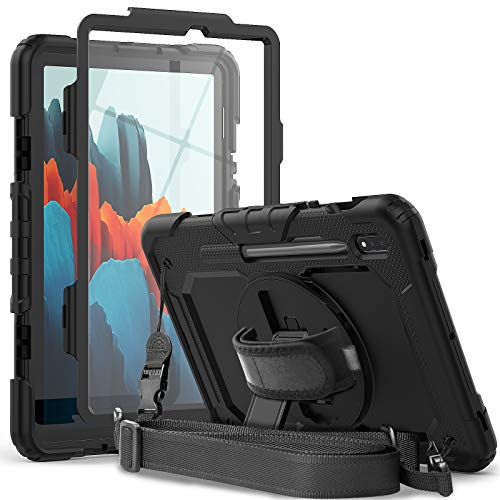 Samsung Galaxy Tab S7 Case SM-T870/T875/T878 | Herize Tab S7 Case 11 inch 2020 with S Pen Holder Screen Protector | Heavy Duty Shockproof Rugged Silcone Protective Cover W/Stand Shoulder Strap