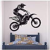 azutura Dirt Bike Trick Vinilos Moto de Motocross Pegatina Decorativos Pared Dormitorio de los Muchachos Decoración Disponible en 5 tamaños y 25 Colores X-Grande Negro