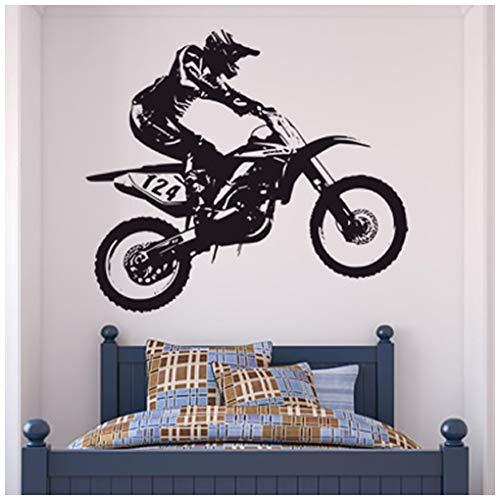azutura Dirt Bike Trick Wandtattoo Motocross Motorrad Wand Sticker Jungen Schlafzimmer Dekor verfügbar in 5 Größen und 25 Farben Groß Schwarz