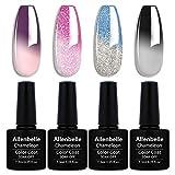 Allenbelle Smalto Semipermanente Camaleonte Nail Polish UV LED Gel Unghie (Kit di 4 pcs 7.3ML/pc) 0803
