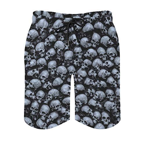 Xuanwuyi Skulls Strandhose mit Taschen, 3D-Druck, Mikrofaser-Polyester, Mesh-Futter, Sommer, Surfen, Strand, Board, schnelltrocknend, super saugfähig, sandfrei, Pool mit Kordelzug, weiß, 3XL