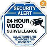 Video Surveillance Sign, Large 12X12 Inches, Rust Free 0.40 Aluminum, (2 Pack) Security Alert Warning All Activities are Monitored Sign, Indoor and Outdoor use - by ARMO (2)