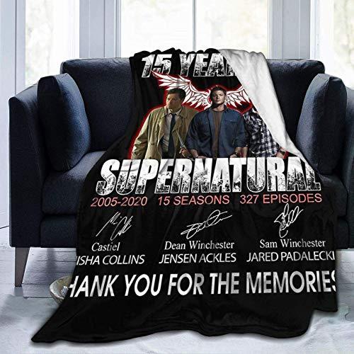 Supernatural?15?Years?tv?Show Manta de cama de microforro polar, adecuada para sofás, dormitorios, pícnics, todas las estaciones 60 x 50 pulgadas