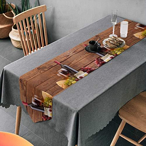 FULUHUAPIN Camino de mesa de copas de vino de uva blanca y roja de 33 x 177,8 cm estilo casa de granja, suministros de mesa para fiesta de cumpleaños, boda, fiesta de bebé, Navidad 2030188