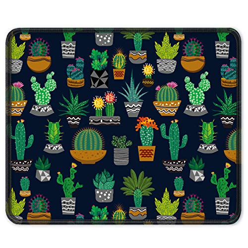 Auhoahsil Mouse Pad with Stitched Edge Premium-Textured Mouse Mat Waterproof Non-Slip Rubber Base Customized Rectangle Mousepad for Laptop Computer PC Gaming Office 11.8×9.85 inches, Cute Cactus
