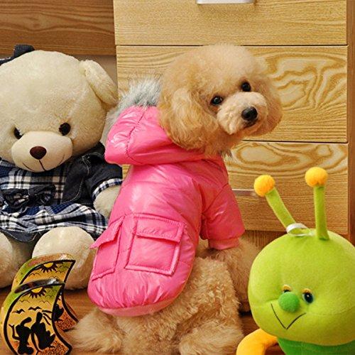 Namsan Pet Puppy Dog wasserfeste Kleidung und Winddichte Kapuzen Winter warme Kleidung Mantel Outwear -Pink -Kleine - 5