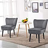 Giantex Set of 2 Velvet Accent Chair, Upholstered Modern Leisure Club Chairs with Solid Wood Legs, Thick Sponge Seat, Adjustable Foot Pads, Armless Wingback Chairs for Bedroom Living Room (2, Grey)