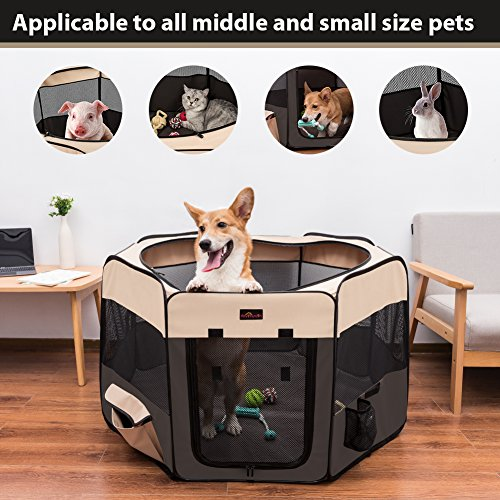 """Aivituvin Dog Playpen 36"""" Portable Puppy Pen Compatible Small & Large,Kitten,Rabbit,Cat Play Pen Indoor/Outdoor Use (M, Brown)"""