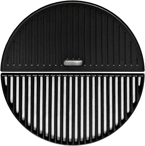 """ZLjoint Half Moon Cast Iron Reversible Griddle and Grate Compatible Kamado Joe Classic I, II, III; One-Piece, 18"""" (Griddle+Grate)"""