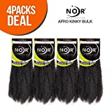 Janet Collection Synthetic Hair Braids Noir Afro Kinky Bulk 24' (4-Pack, 1B)