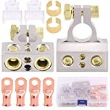 Glarks 8Pcs Car Battery Terminals Connectors 0/4/8/10 Gauge Battery Terminals with Heavy Duty Wire Ring Terminal Connectors for Car, Vehicle, RV and Boat Use