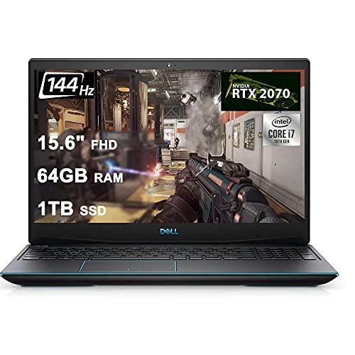 Dell Flagship G5 15 Gaming Laptop 15.6' FHD 144Hz 10th Gen Intel 6-core i7-10750H 64GB RAM 1TB SSD GeForce RTX 2070 Max-Q 8GB Backlit Keyboard Thunderbolt Wifi6 Win10