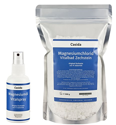 Magnesiumöl Vitalspray 100 ml + Magnesiumchlorid Vitalbad 1000 g Set - rein natürliches Zechstein Magnesiumchlorid
