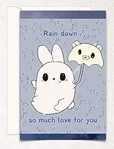 Bunny Umbrella Valentine's Day, Love, Birthday, Anniversary, Hand Drawn Original Poetry Greeting Card