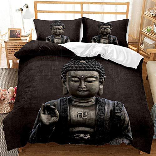 Zen Buddha Bedding Set Lotus Chakras Pattern Quilt Cover Sets Black Pillowcase Polyester King Queen Size Twin Full Girl Boy Teen Home Nordic Boho